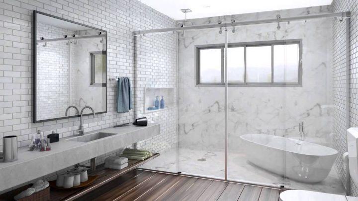 Box para banheiro em acrílico, vidro, pequeno -> Banheiro Pequeno Com Box De Tijolo De Vidro