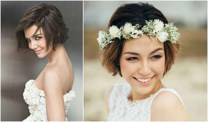 Penteado curto para noivas