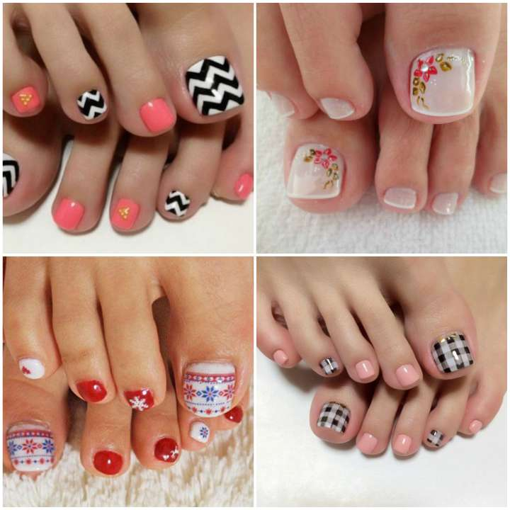 Materiais para unhas decoradas dos pés coloridos
