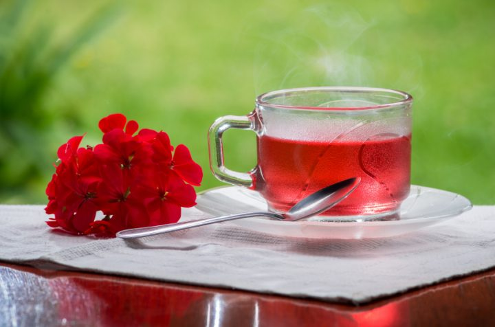 Rose bud tea in cup,