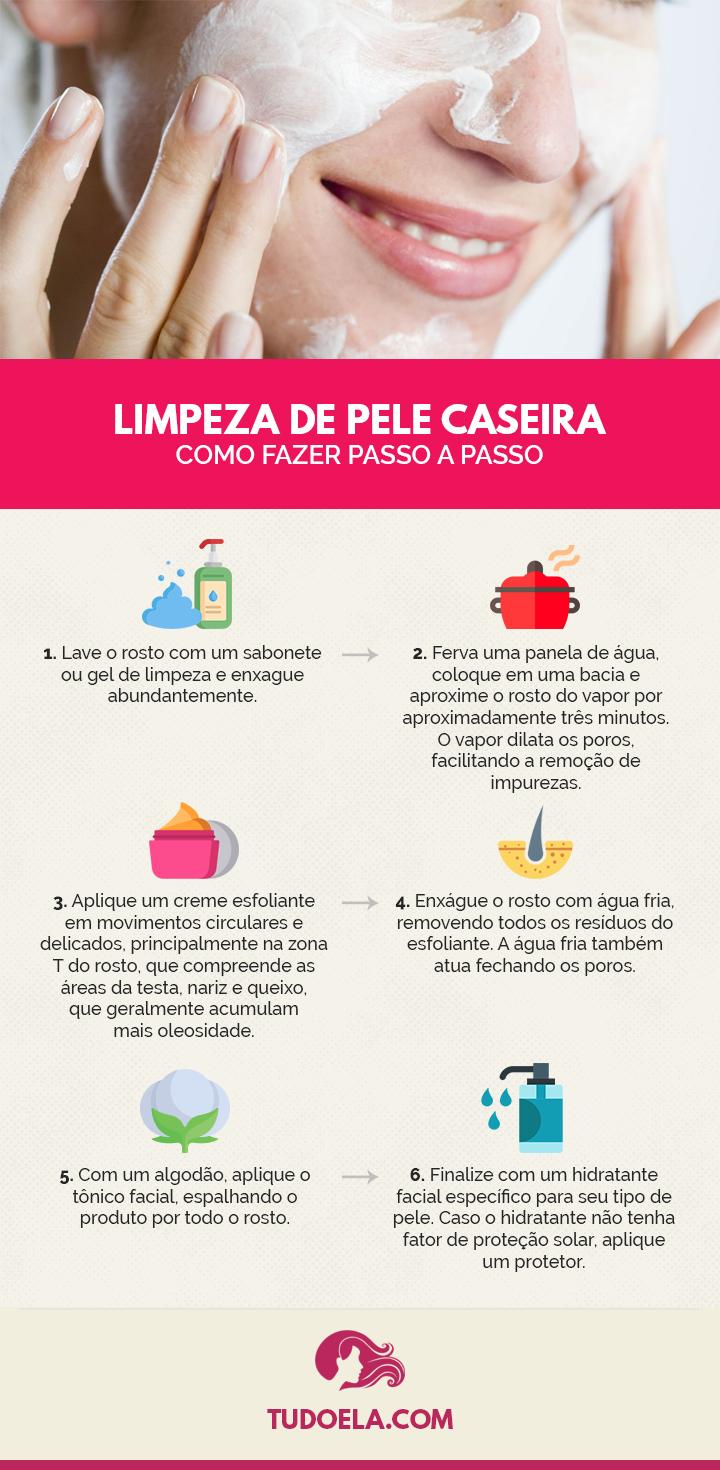 Limpeza de pele caseira: como fazer passo a passo [Infográfico]