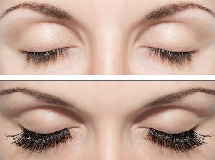 Close Beautiful eyes with natural eyelashes to and false eyelashes after