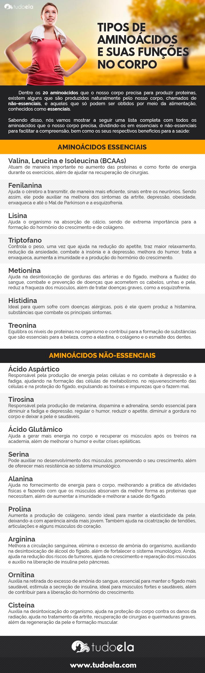 Tipos de aminoácidos infográfico