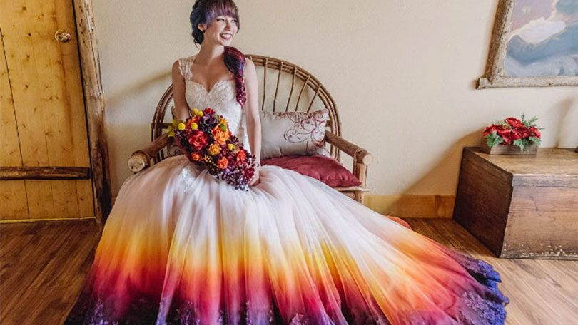 Vestido de noiva dip dye