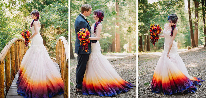 Vestido de noiva dip-dye casamento