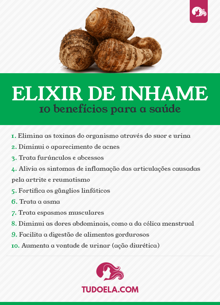Elixir de inhame: 10 benefícios para a saúde [Infográfico]