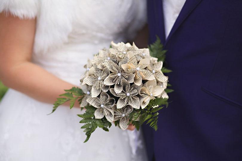 Decoração origami casamento buquê
