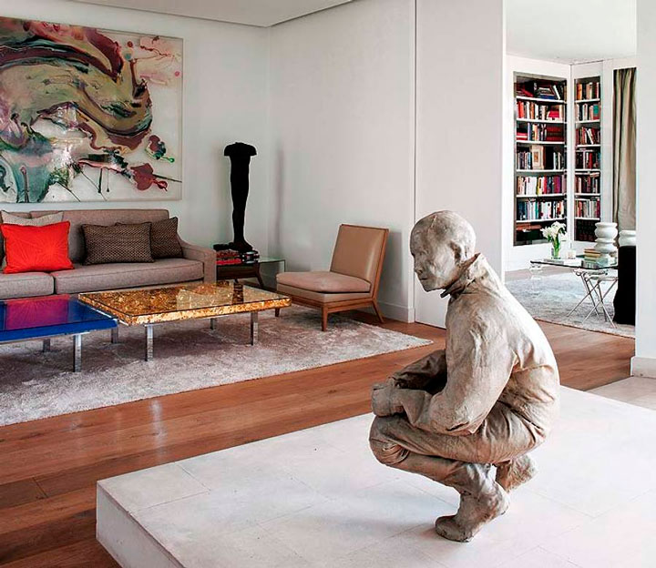 Decoração com esculturas sala