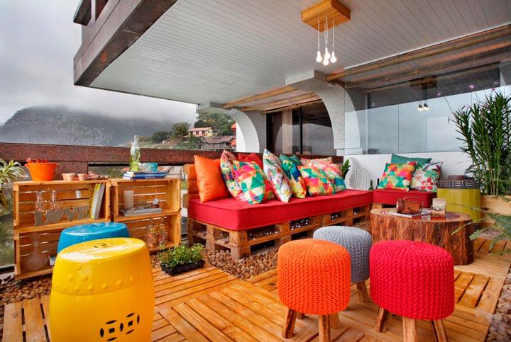 Decoração com futons varanda
