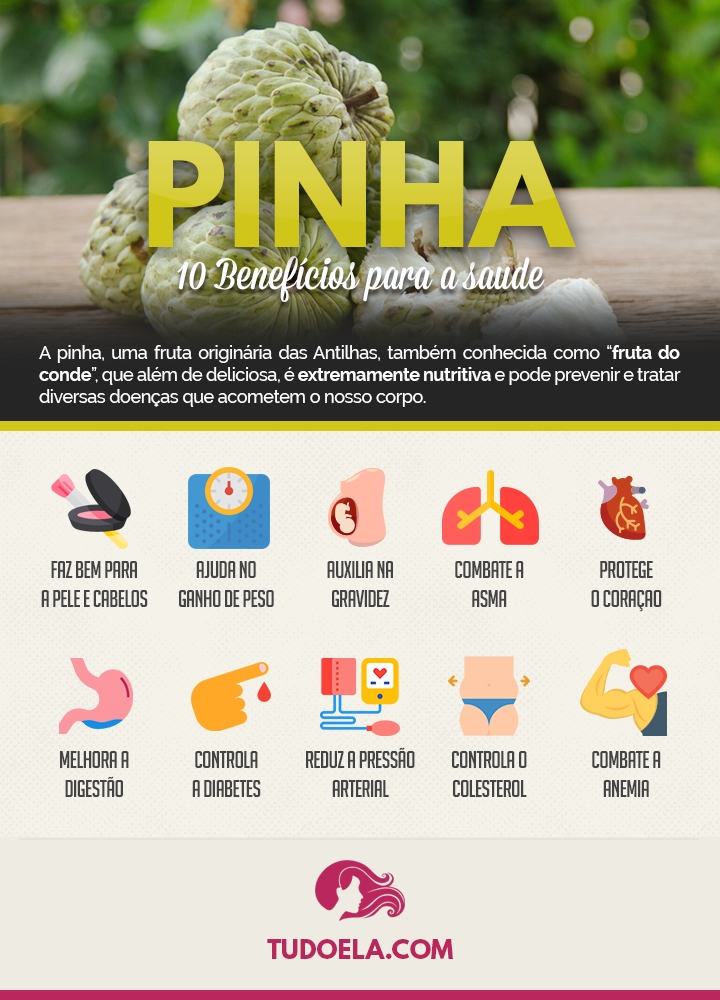 Benefícios da Pinha para a saúde [Infográfico]