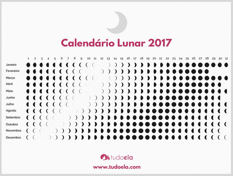 Calendário Lunar 2017 Tudo Ela