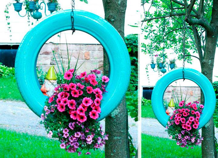 Decoração com pneus jardim
