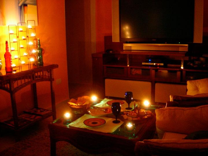 Decoração com velas sala