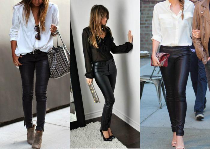 79d5b44f6 Os looks com calça de couro valorizam muito a silhueta e o estilo da  mulher. É para mostrar o quanto uma mulher sabe se vestir. Então, pode  caprichar no ...