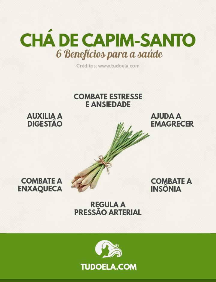 Chá de Capim-Santo: 6 benefícios para a saúde [Infográfico]