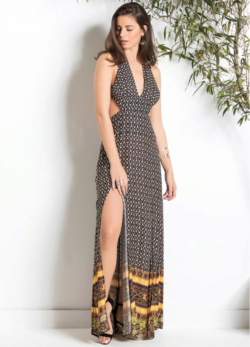 756a61f708 Mas ainda ficaram muitas dúvidas de como compor excelentes looks com vestido  longo estampado. Saiba que essa impressão ...