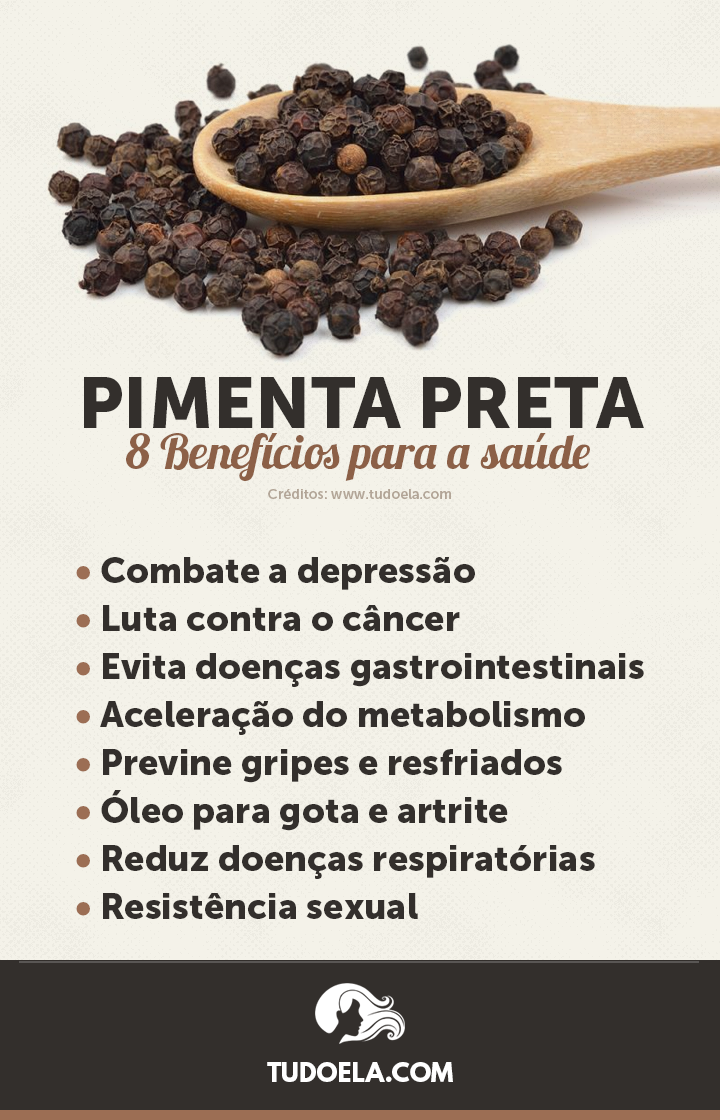 Pimenta Preta: 8 benefícios para a saúde [Infográfico]