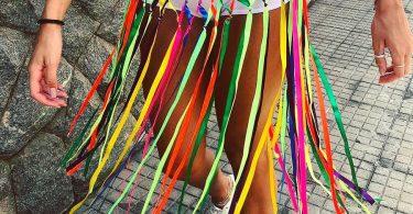 Saia de fitas coloridas para o carnaval